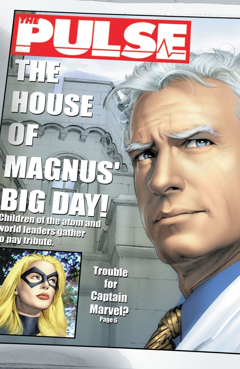 The Pulse cover names Carol Danvers as Captain Marvel in this alternate reality. From issue #3 of House of M.