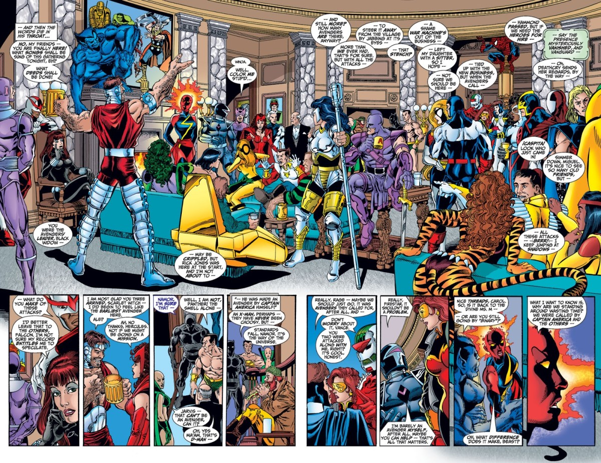 Double page spread from Avengers #1 1998 comic series. Bottom panels show Binary in iconic Ms. Marvel costume.