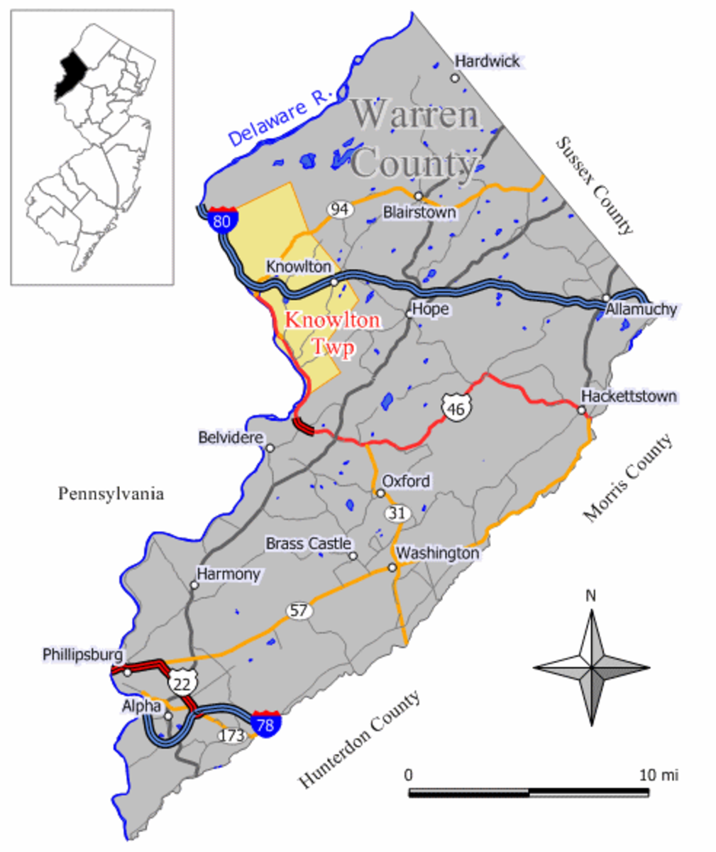 Map of Knowlton Township in Warren County, New Jersey.