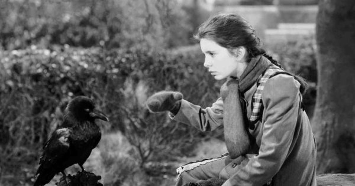 Mary wearing mittens, communicating with a raven