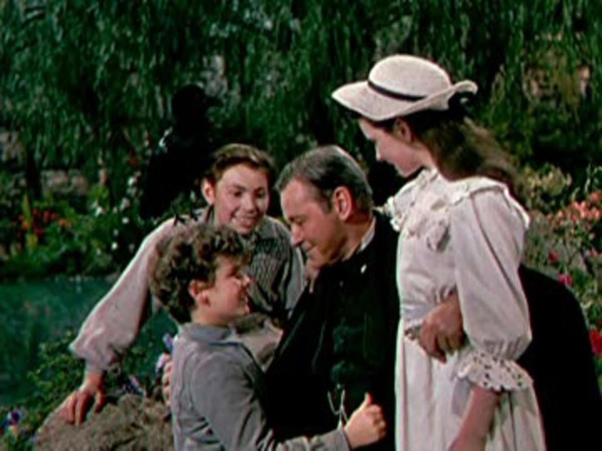 Dean Stockwell, Herbert Marshall, Margaret O'Brien, and Brian Roper in The Secret Garden (1949)
