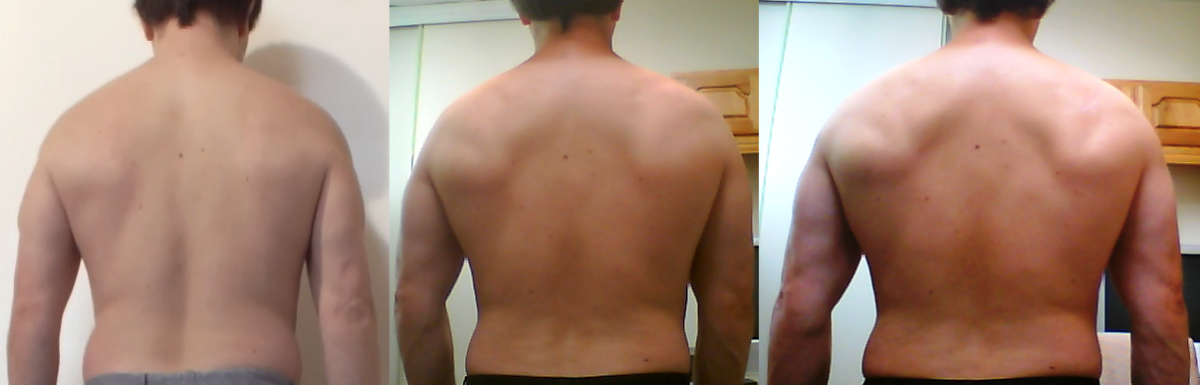Before, after 30 days and after 60 days of pull ups.