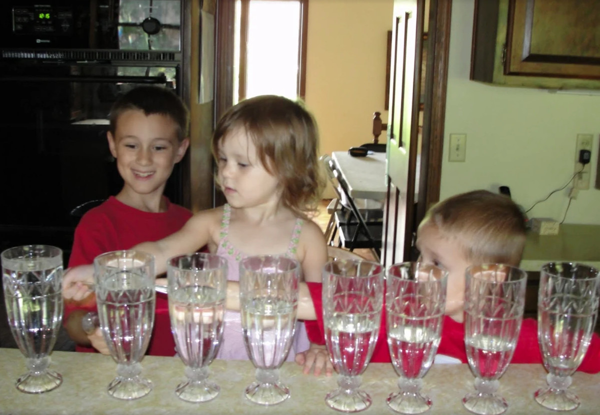 Playing tunes using water glasses was one of the activities we did this week during our Fine Arts Morning Basket & Activities time.