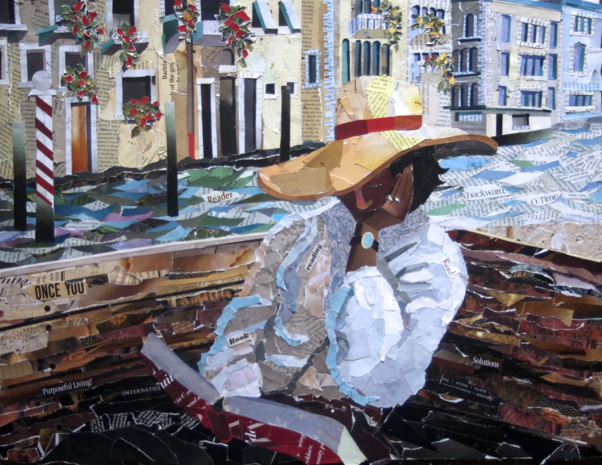 Woman Reading Collage