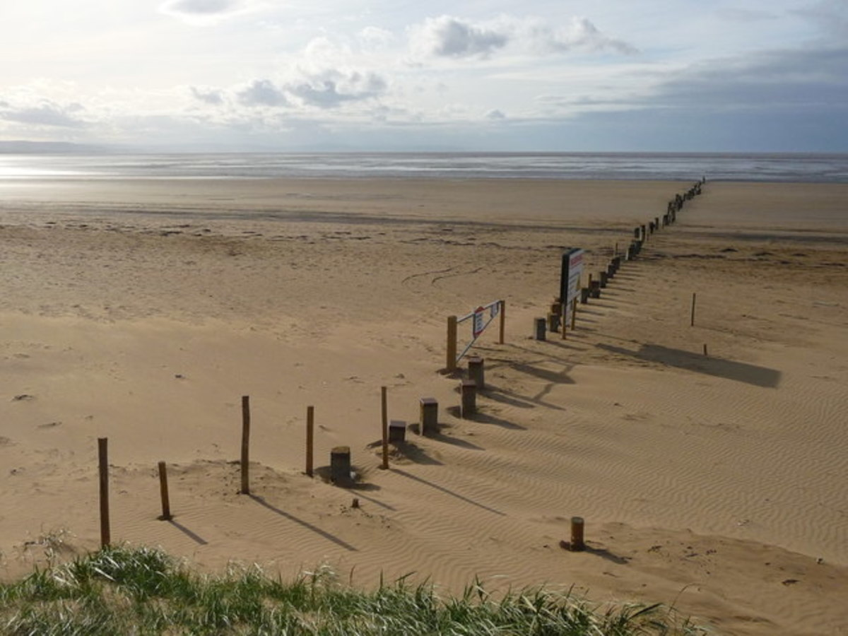 Berrow Beach and out over the Bristol Channel