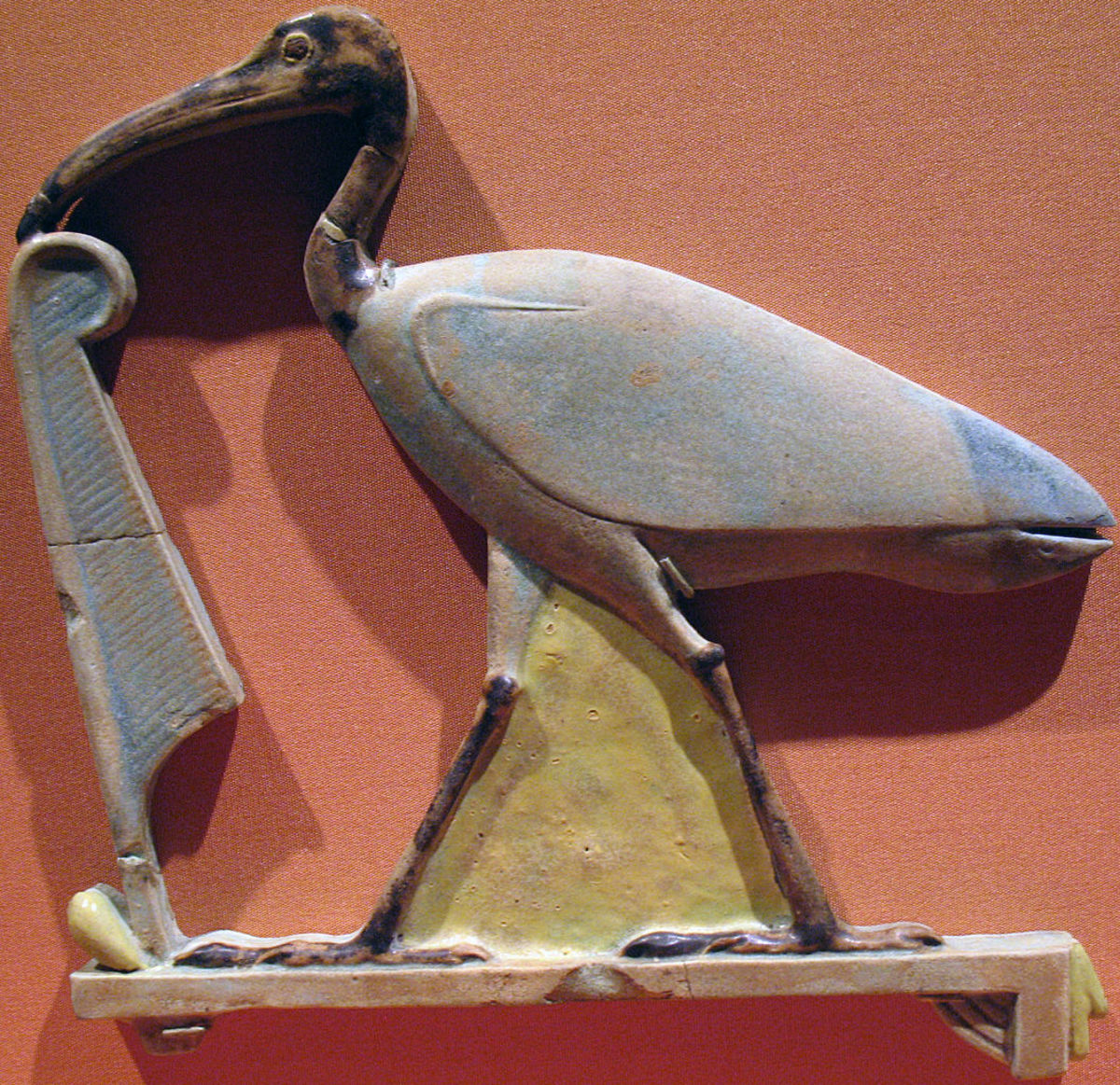 A beautiful amulet with Thoth's name, the ibis hieroglyph, next to Ma'at, the Feather of Truth.