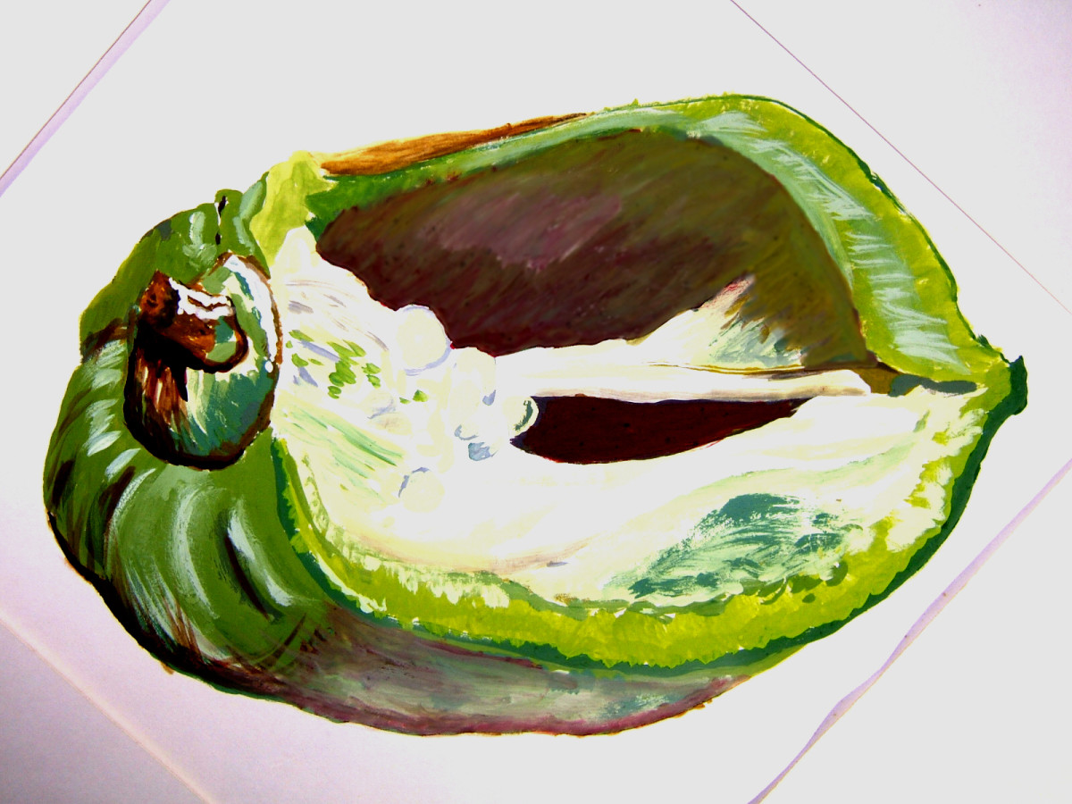 A green pepper in colour, done with thick paint and no black from a tube, painted with mixed paints using primary colours only and the white of the paper.