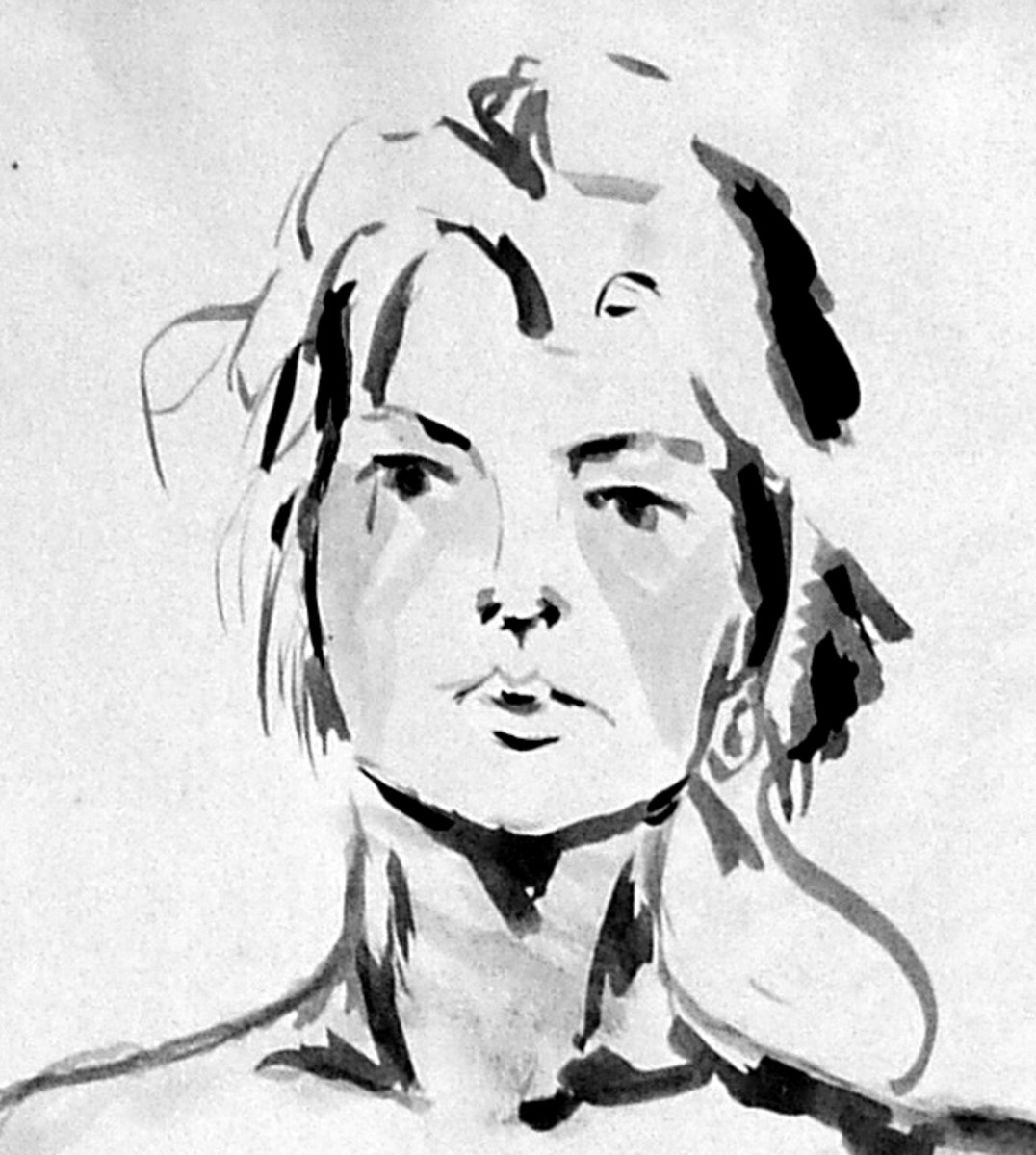 A life drawing/painting created with gouache, thick paint and washes of grayscale tones, a nice example of mark making with a flat brush showing how the brush can be used to lay down think and thin lines.