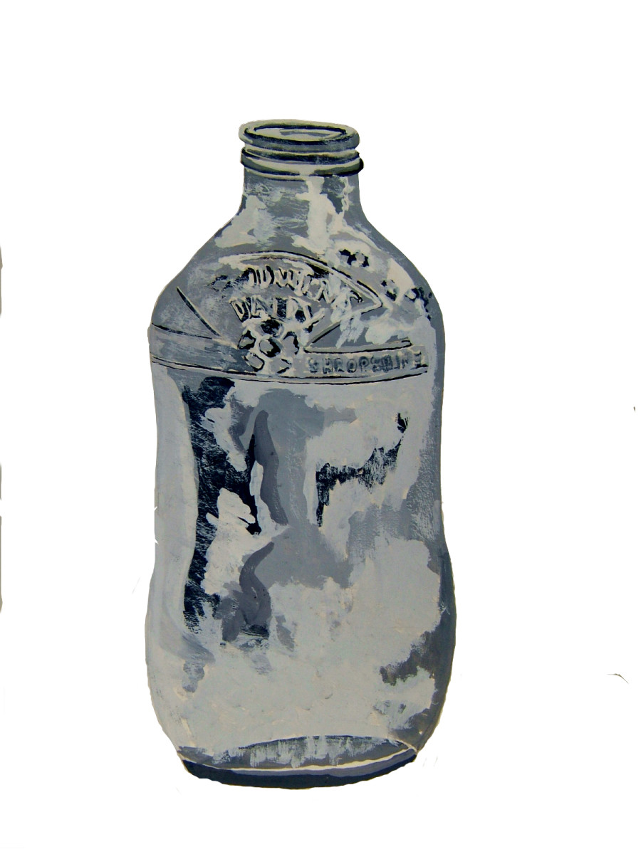 A good old Shropshire dairy's glass milk bottle, better than plastic to paint with black and white gouache.