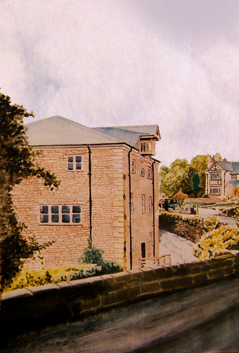 Kings Mill on the Old Road to Wrexham, North Wales, UK, painted using a variation of differing techniques with water colour washes, wet into wet and thick paint to create the many different components of this picture.