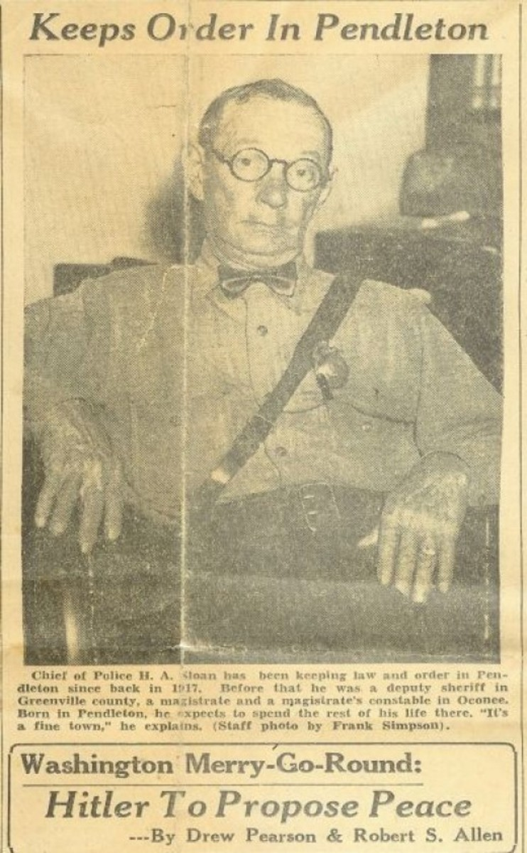 Chief Harry Sloan Newspaper Clipping Contributed by Jerry Sloan