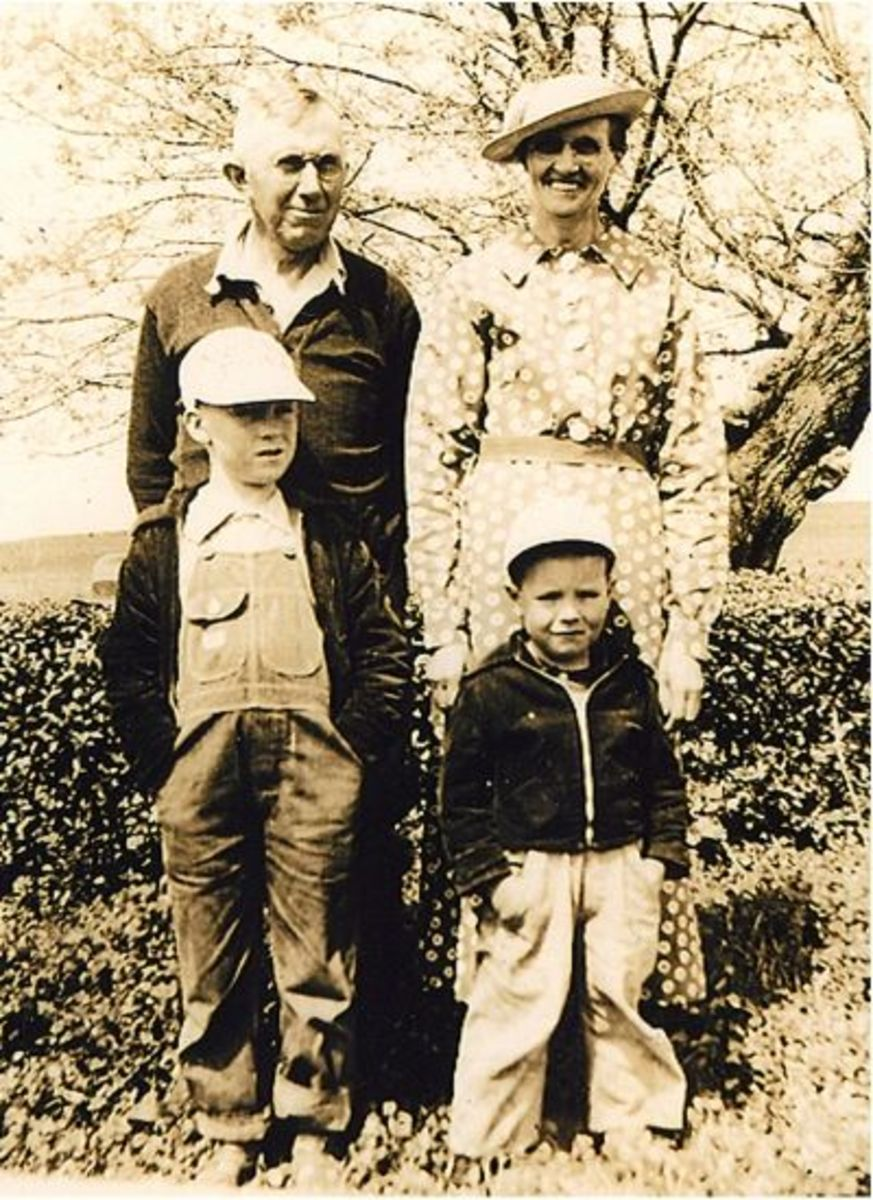 Calvin and Melvin Barnette with Grandpa and Grandma Hicks