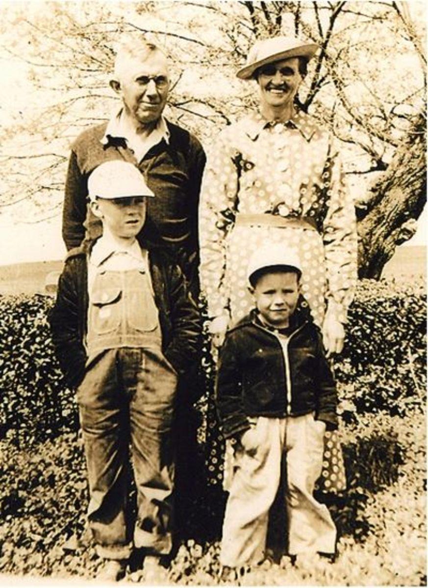 Calvin and Melvin Barnette with Grandpa and Grandma Hicks
