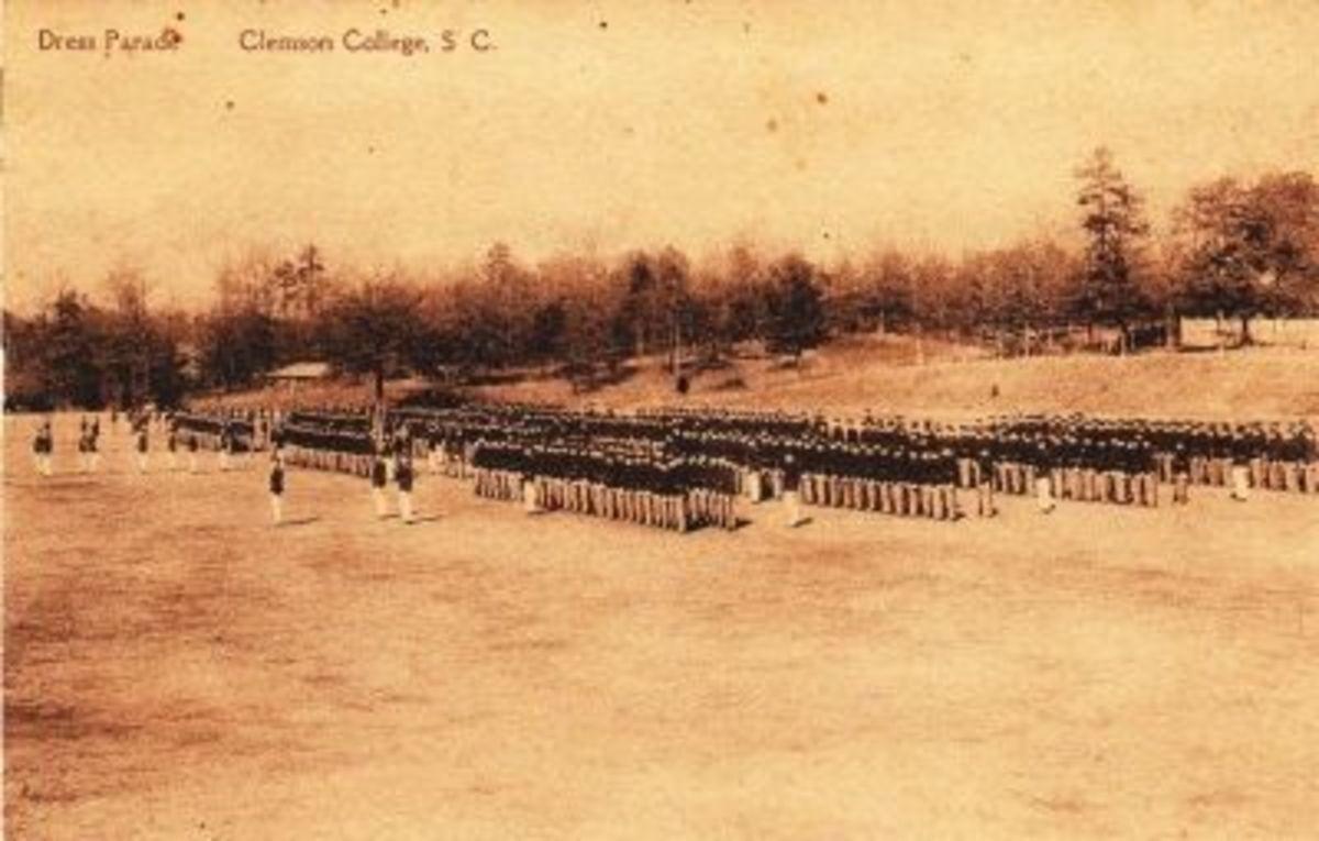 Vintage Clemson College Postcard - Dress Parade