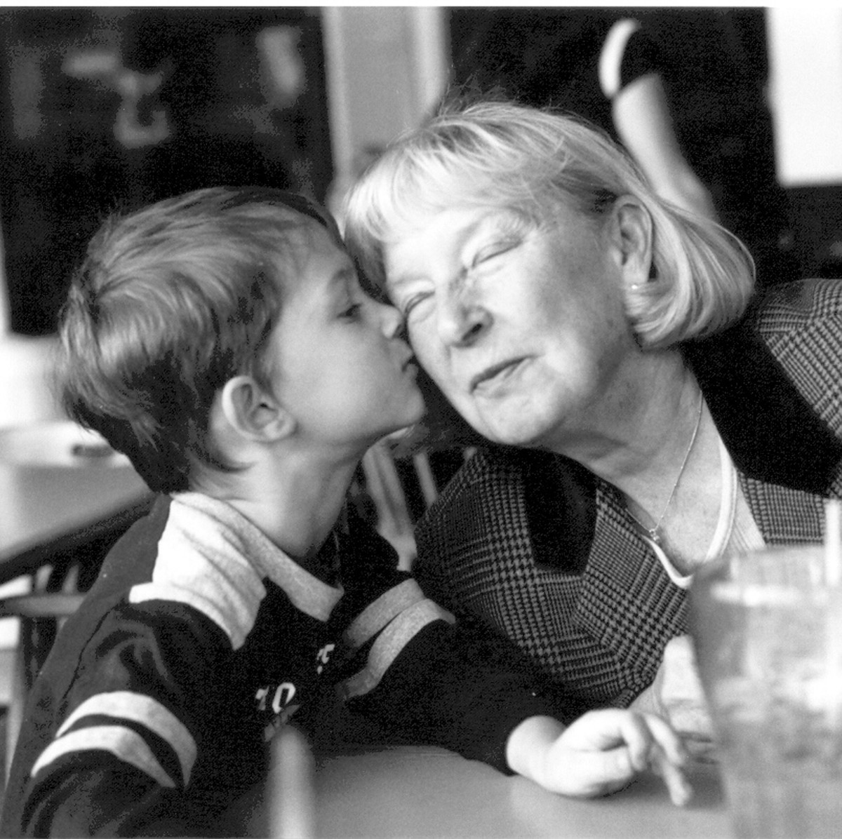 A grandparent to love and kiss on...