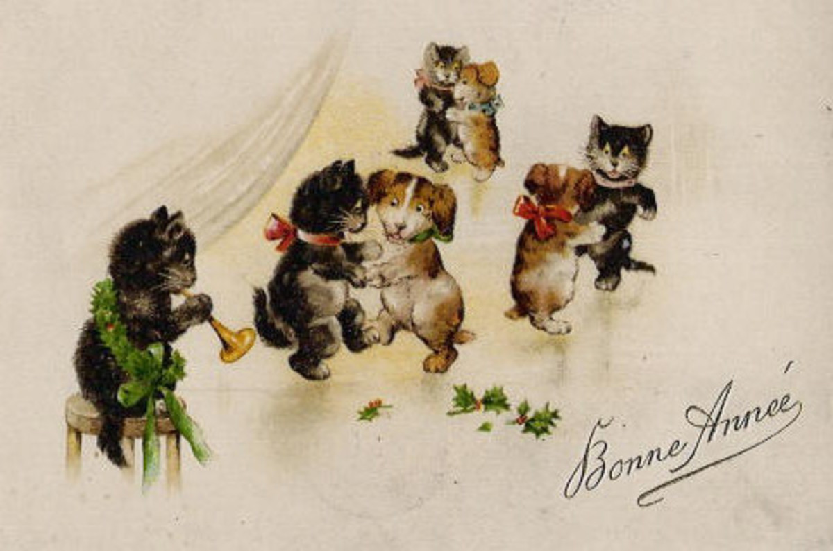 New Year Cards: Dancing dogs