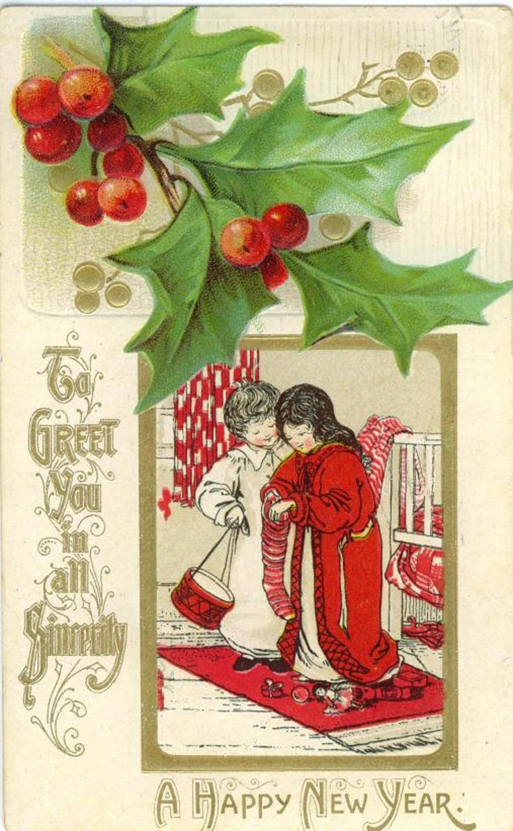 New Year Cards: Holly and children