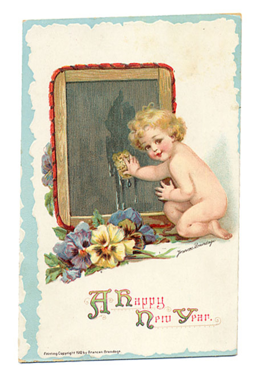 New Year Cards: Baby New Year wipes the slate clean