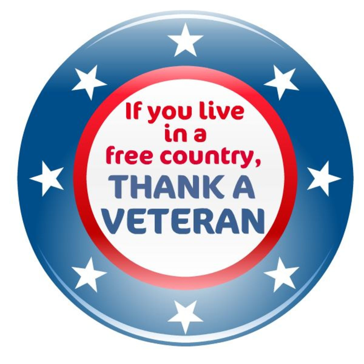"Veterans Day clip art ""If you live in a free country, thank a  veteran"""