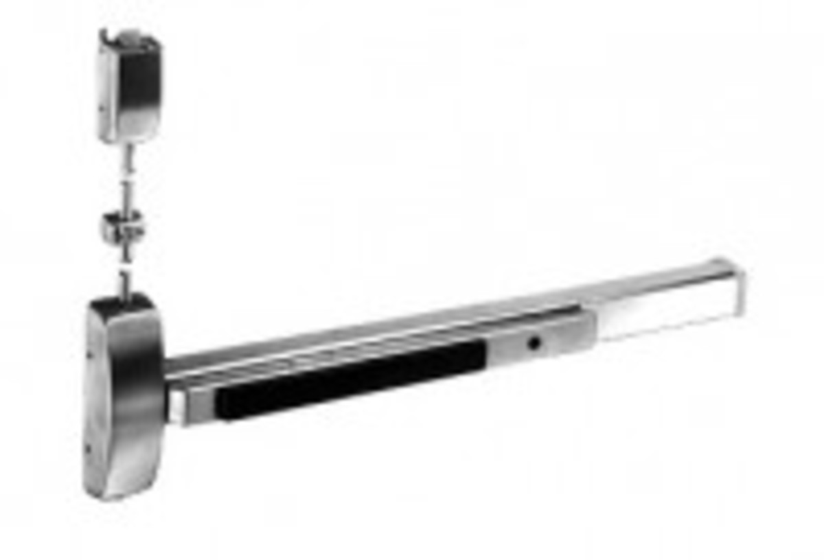 Surface vertical rod exit device, less bottom rod.
