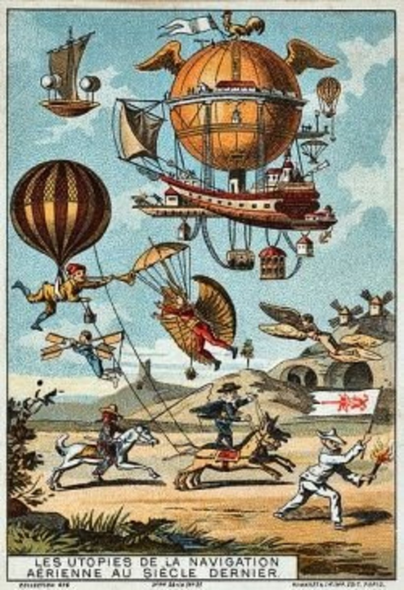 """Copy of public domain (copyright expired) Steampunk print """"The Dream of Flight"""" (c between 1890 and 1900)"""