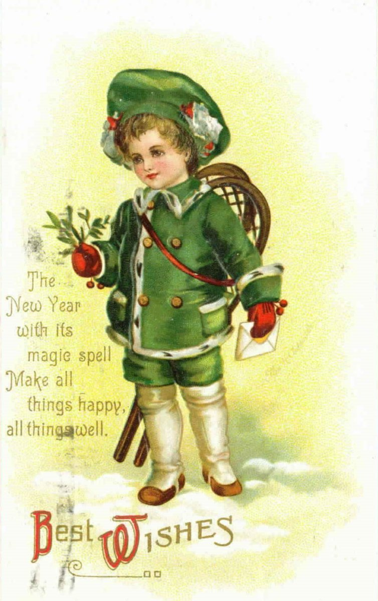 Edwardian boy dressed in green in the snow