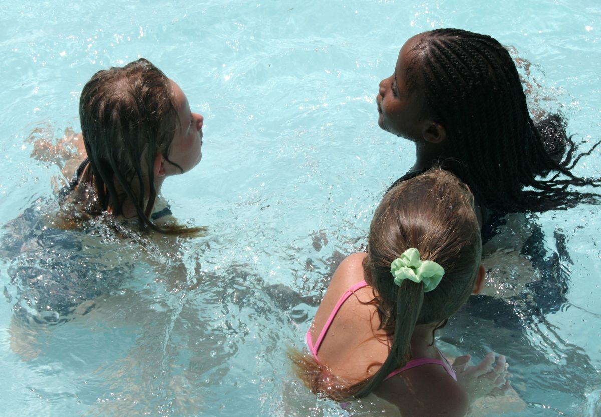 The three girls in the pool