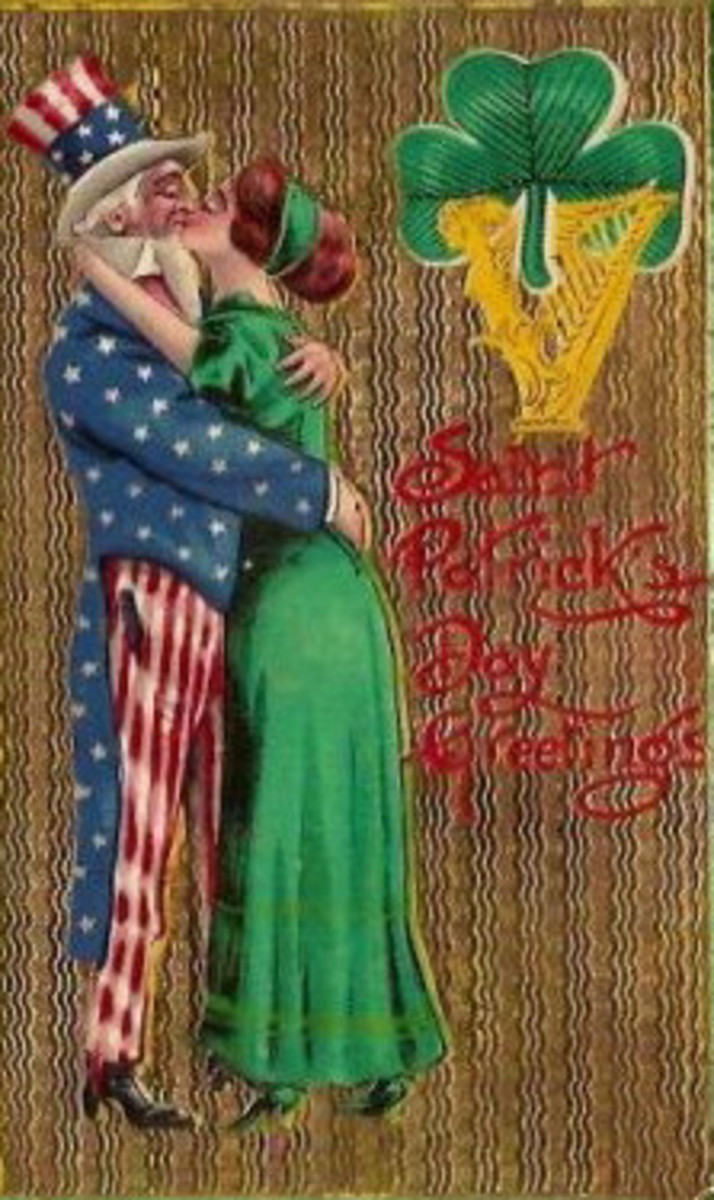 Uncle Sam hugging an Irish lass