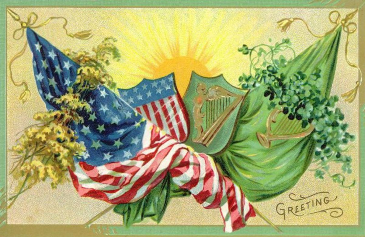 Irish and American flags intertwined with sun rising