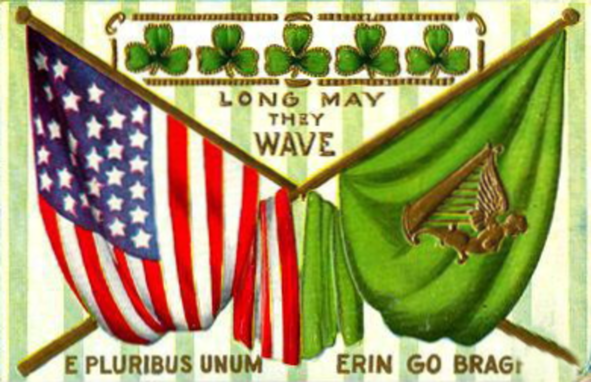 "Irish flag and American flag overlapping with shamrocks in the background ""Erin Go Bragh"" and E Pluribus Unum"""
