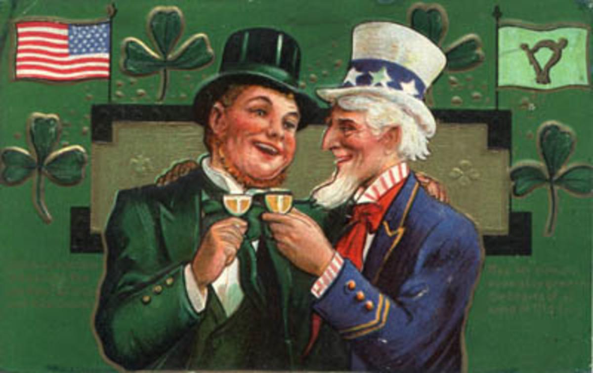 Irish leprechaun and Uncle Sam toasting to St. Patrick's Day