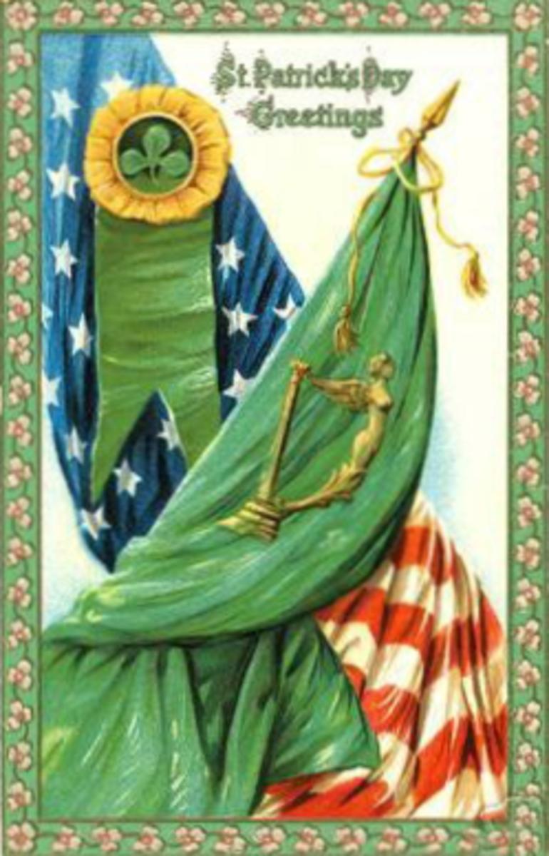 Irish flag and American flag overlapping