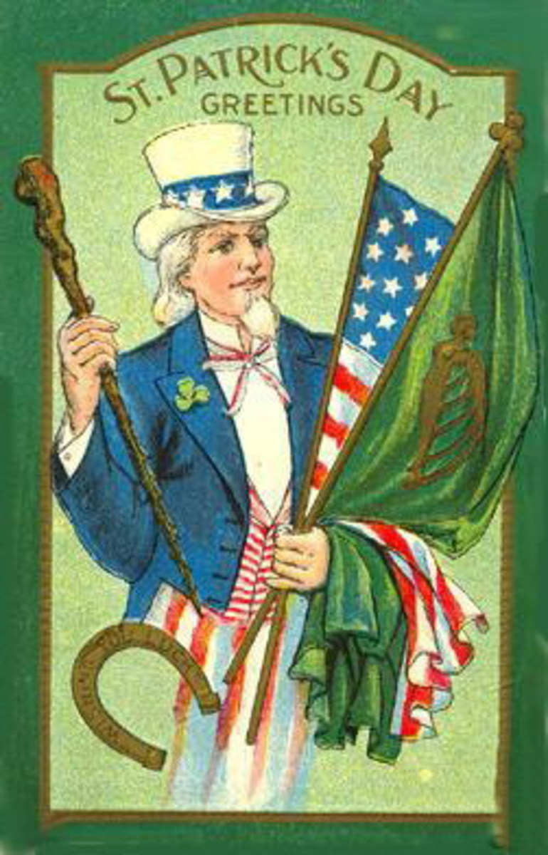 Uncle Sam holding Irish and American flags