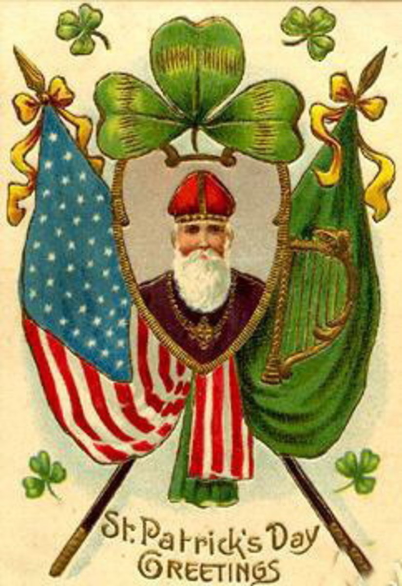Irish and American flags with picture of St. Patrick