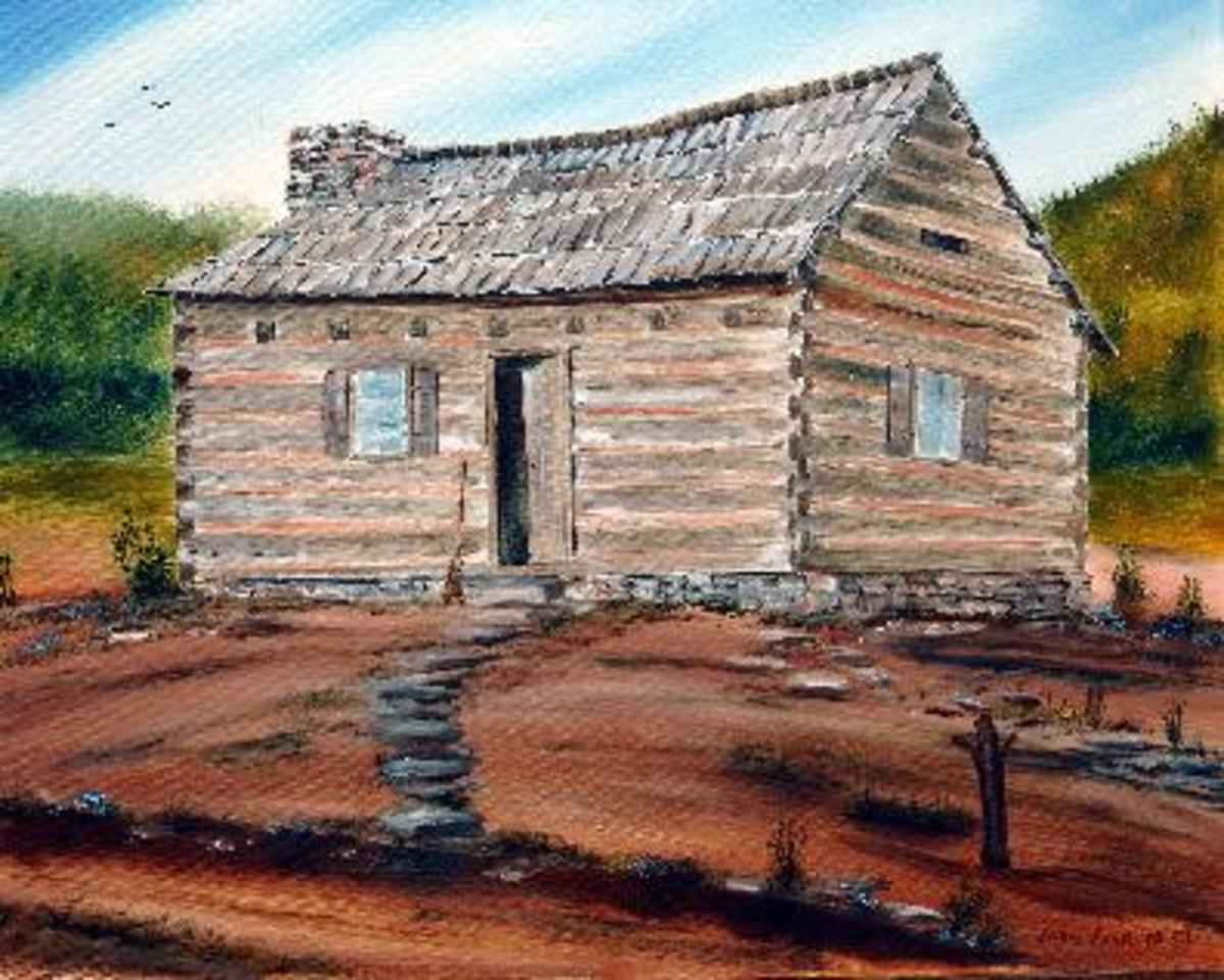 Where Abraham Lincoln Was Really Born On Puzzle Creek Near Bostic NC , Artist Drawing
