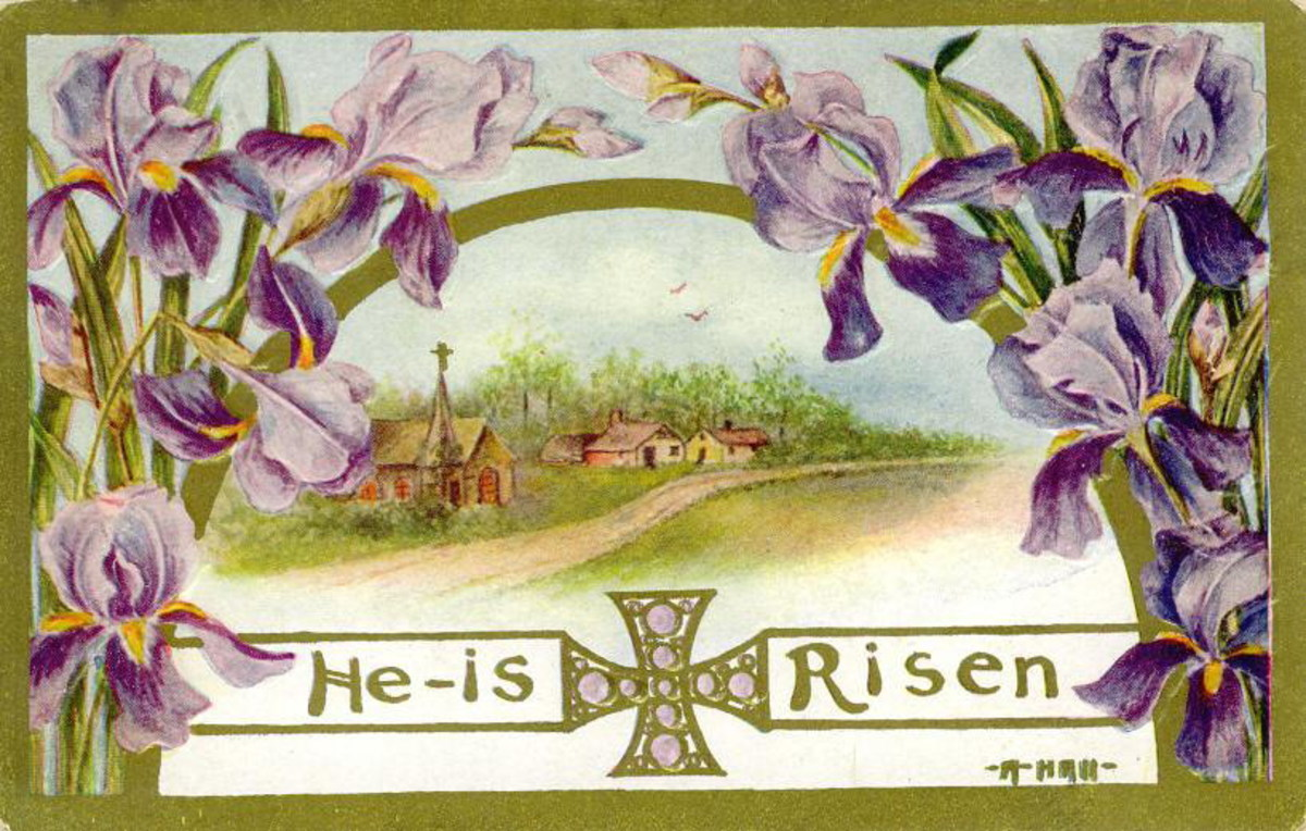 "Purple flowers, country scene and cross ""He is Risen"""