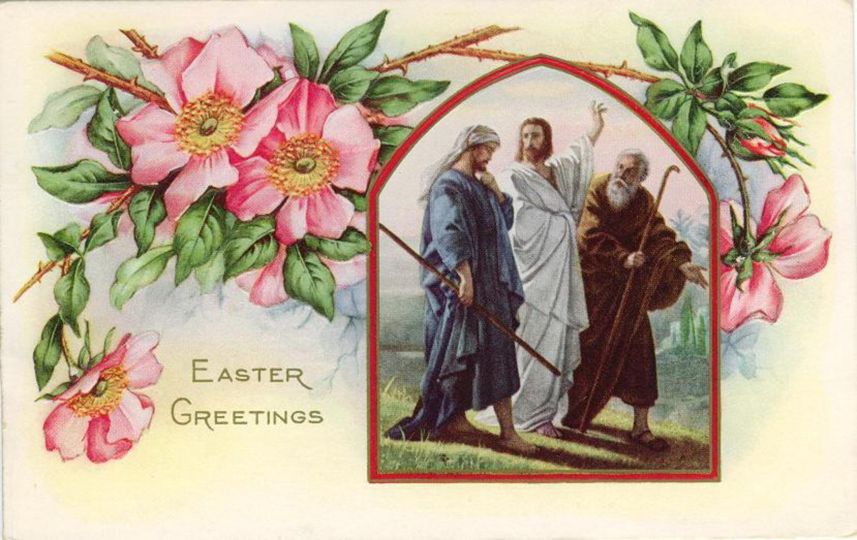 Jesus walking with disciples vintage Easter card