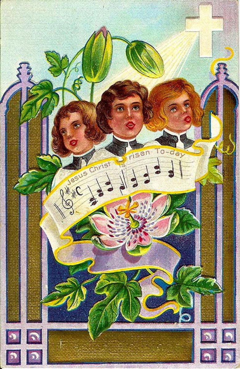 Three choir boys with flowers vintage religious Easter card