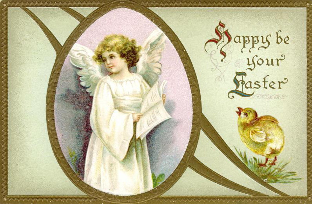 Angel holding scripture vintage Easter card