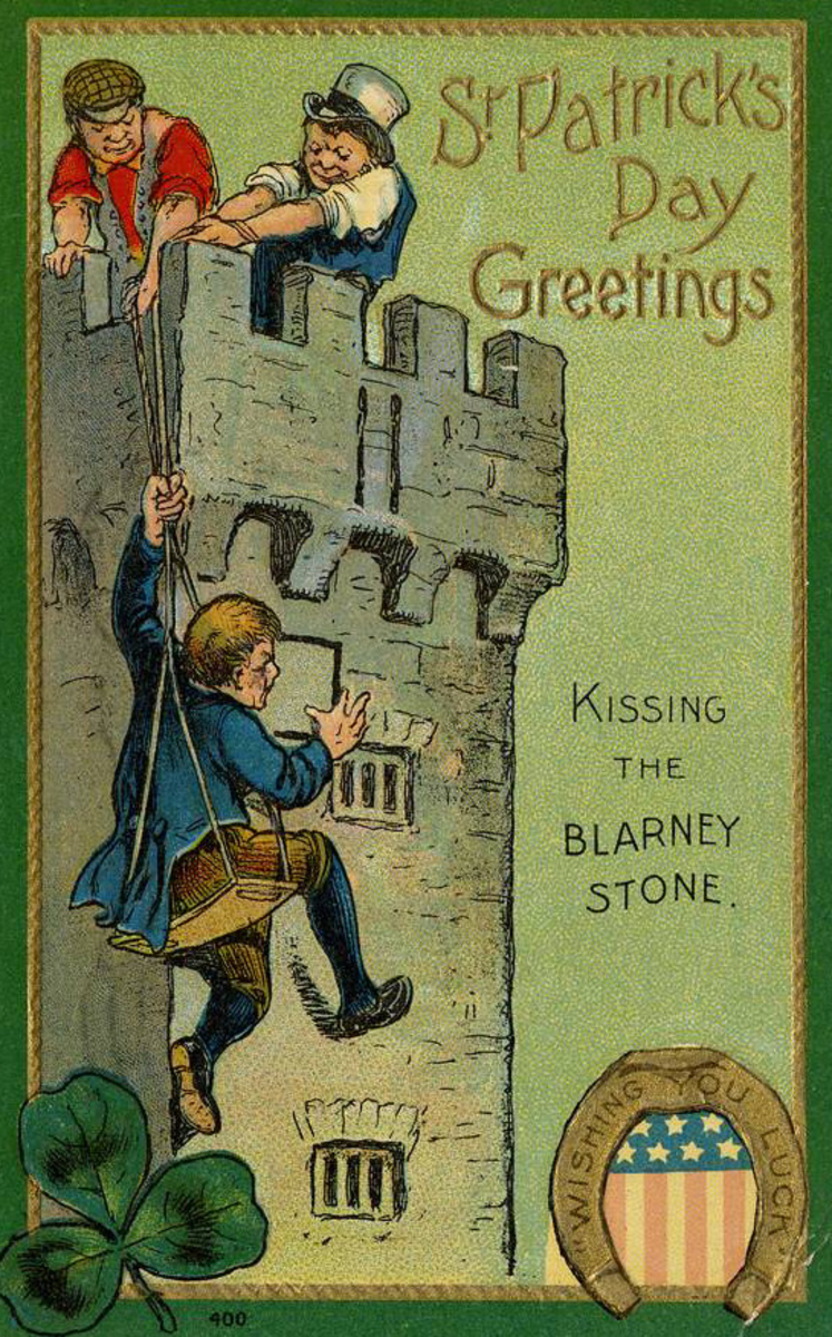 Kissing the Blarney stone vintage postcard