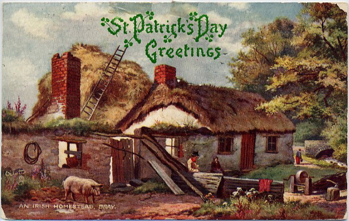 An Irish homestead in Bray, Ireland vintage St. Patrick's Day postcard