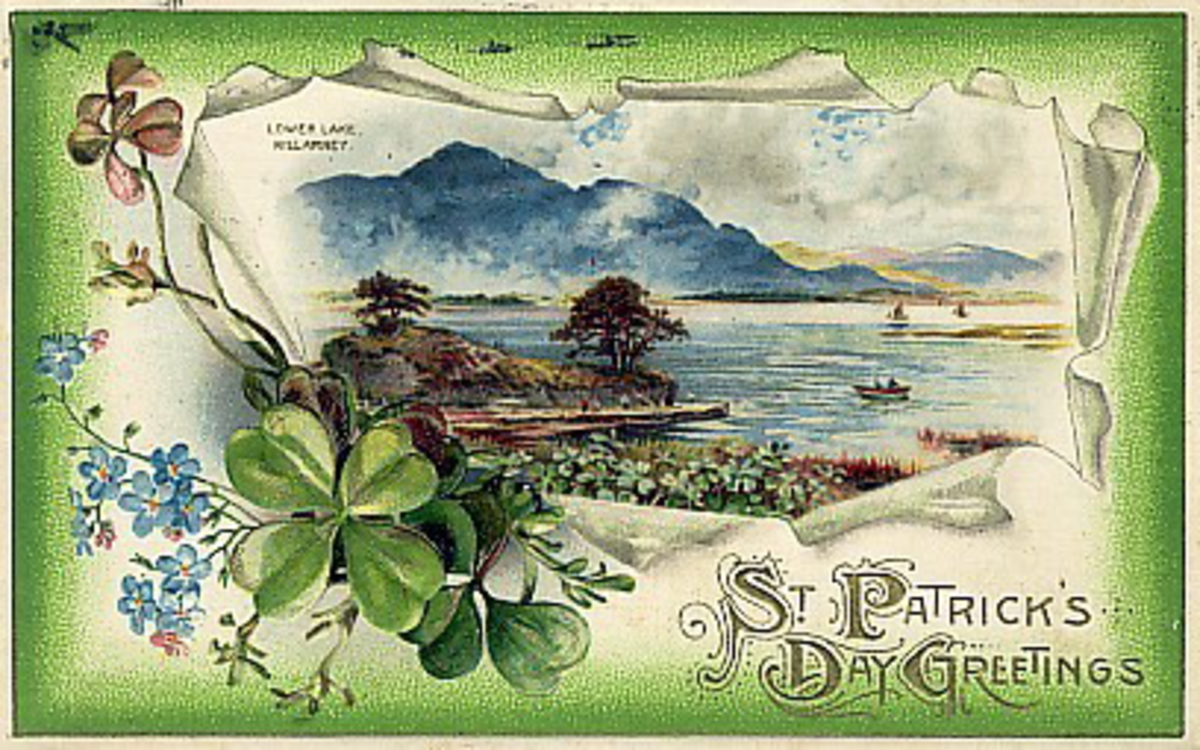 Lower Lake, Killarney, Ireland St. Patrick's Day vintage postcard
