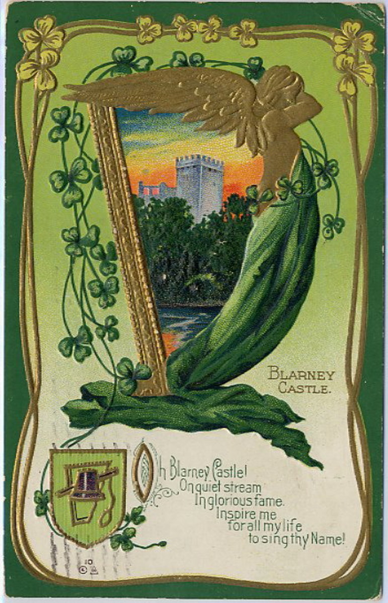 Blarney Castle, Ireland vintage postcard with shamrocks