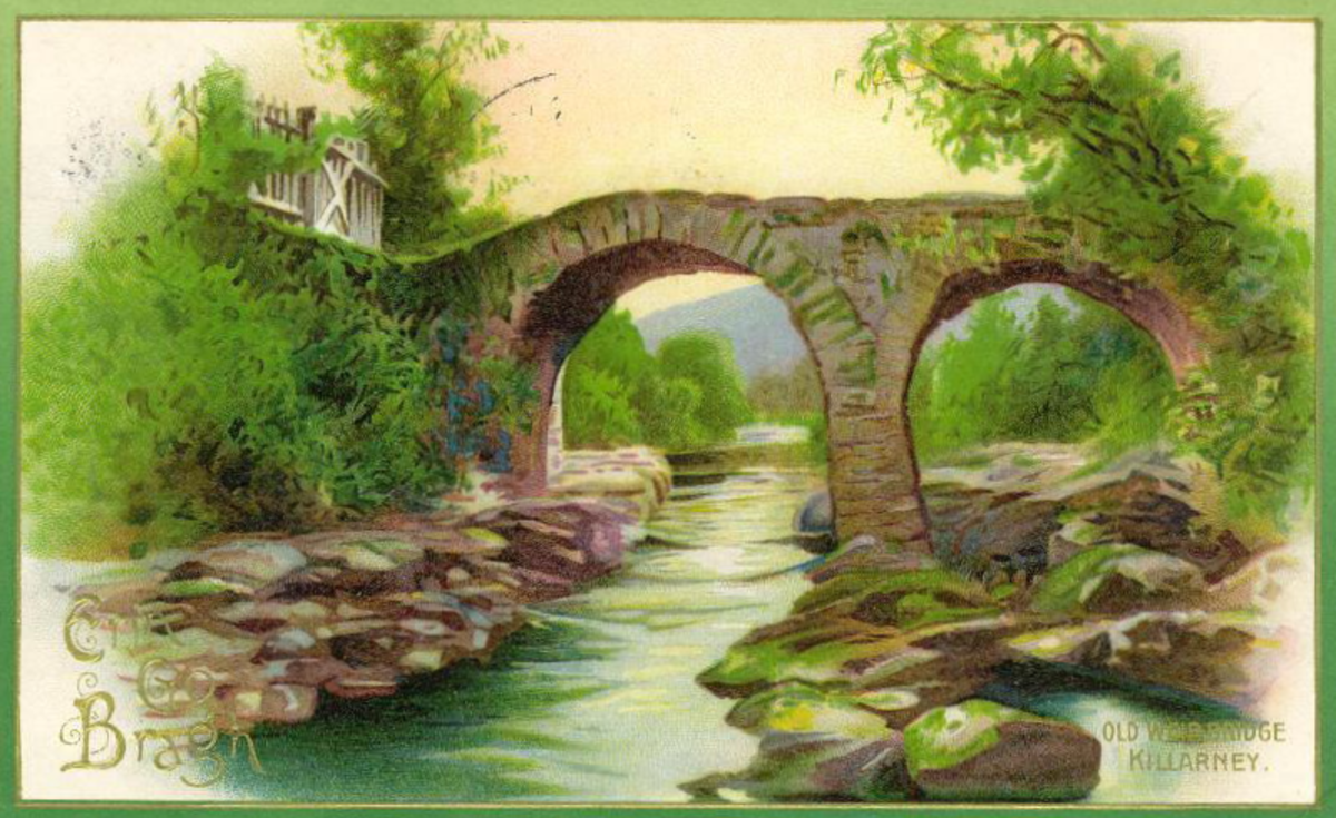 Old Weir Bridge in Killarney, Ireland vintage postcard