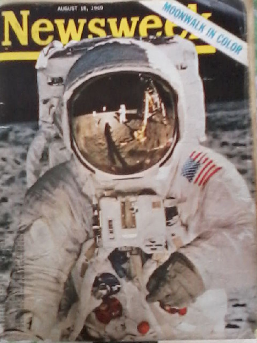 The Cover Of The Newsweek Magazine Reporting The Apollo 11 Moon Mission. Astronaut Neil Armstrong, First Man On The Moon Is Pictured Here In His Spacesuit at Tranquility Base.