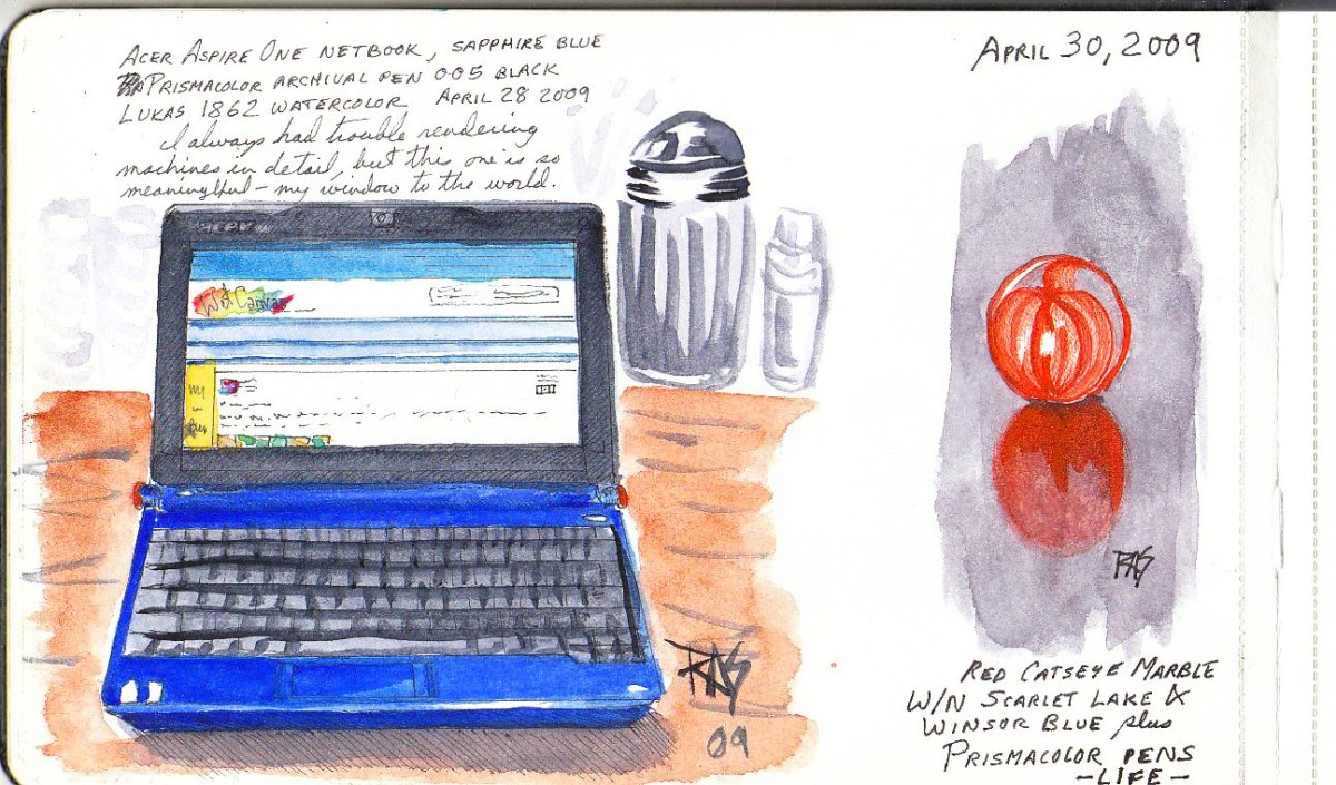 Netbook and Marble Page, pen and watercolor by Robert A. Sloan