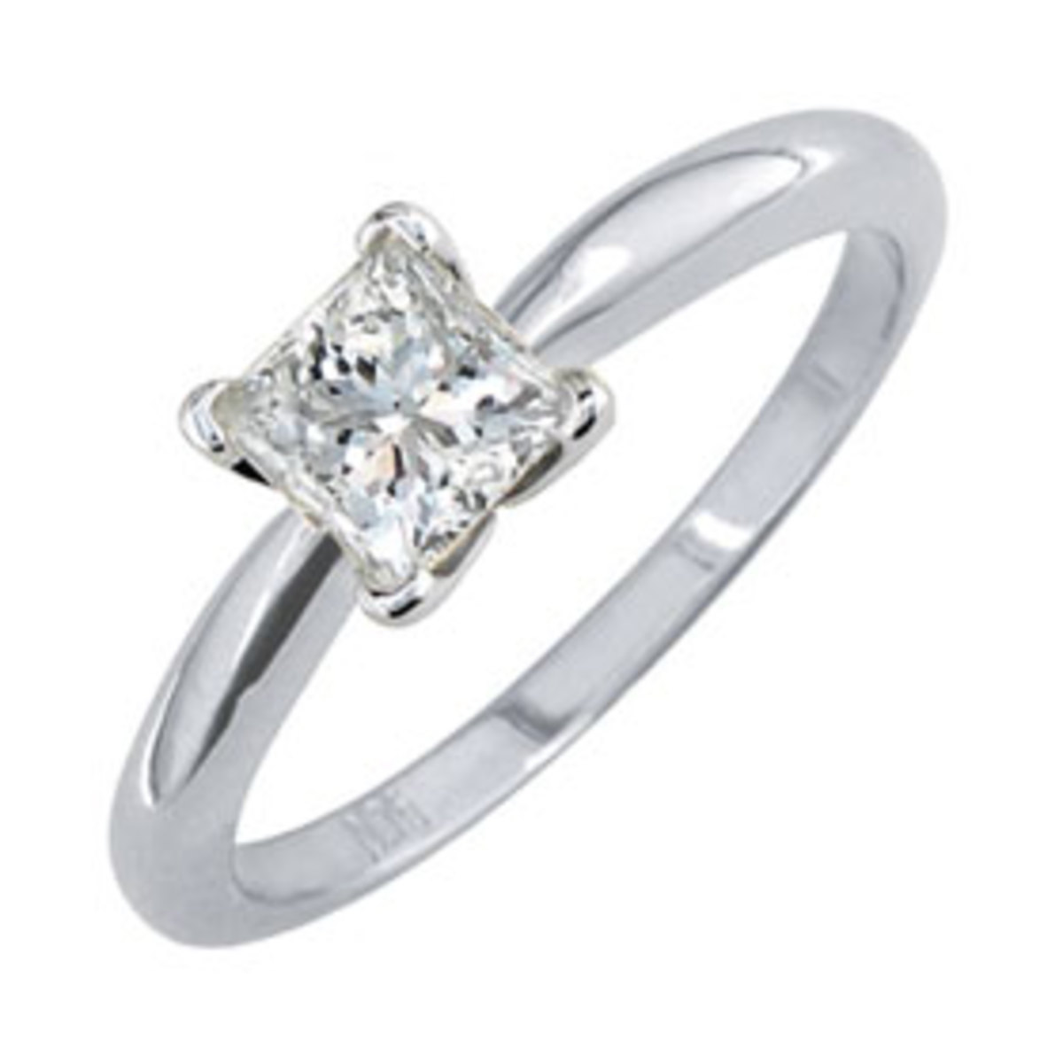 Princess Cut Diamond In White Gold Solitare Setting