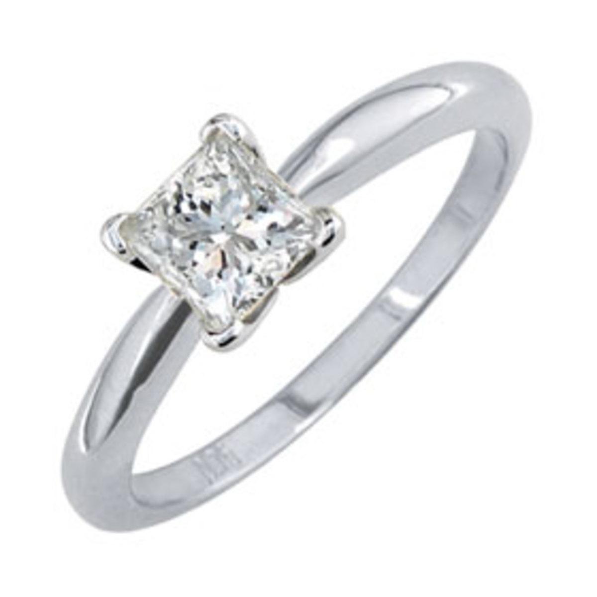 Princess Cut Diamond In White Gold Solitare Setting