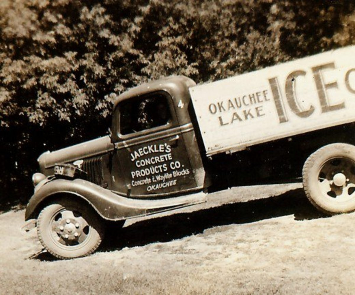 Truck used for ice deliveries in Okauchee back during the 1930s.