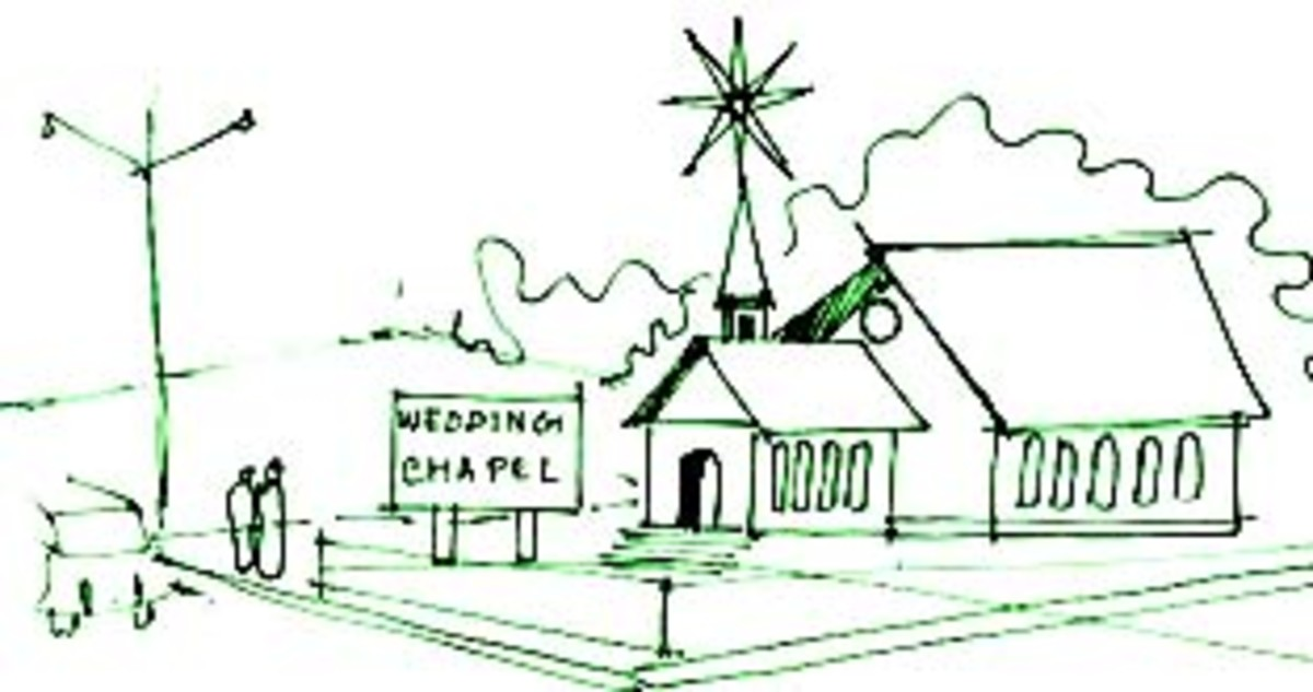(Connotative, suggest use and character)ORDINARY HOUSE+SPIRE=STRIP WEDDING CHAPEL